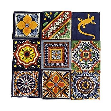 Amazon.com: 9 pintado a mano mexicano de Talavera Azulejos 4 ...