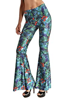 abd2a789d1f54a Pink Queen Women's Digital Printed Flared Bell Bottom 70's Party Pants