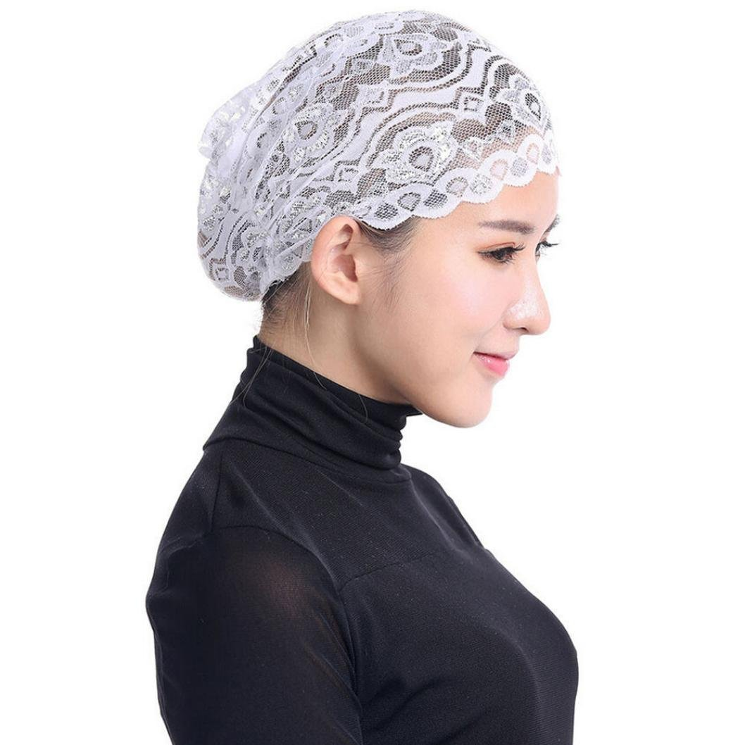 Creazy Women Hijab Hat Lace Ninja Underscarf Head Islamic Cover Bonnet Cap Scarf Muslim (White)