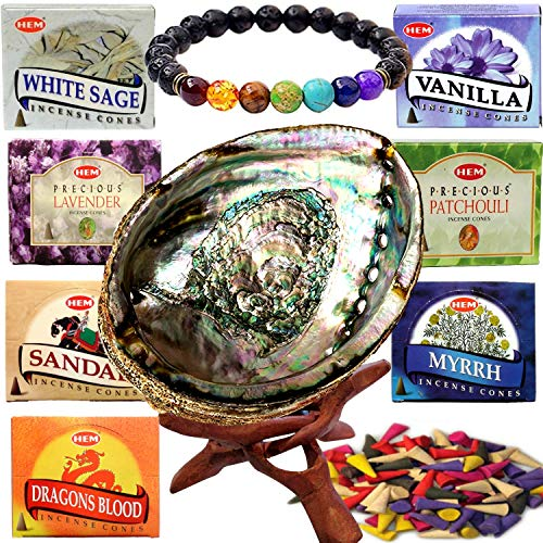 Bracelets Wooden Burning (Worldly Finds Chakra Healing Stones Incense Burner Kit Spiritual Gift Set:Incense Cone Variety,Abalone Shell Incense Holder,Stand,Chakra Diffuser Bracelet)