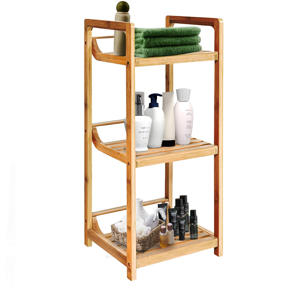 Giantex 3-Tier Bathroom Shelf Bamboo Bath Storage Space Saver Organizer Shelves Rack Shelving Unit (Natural)