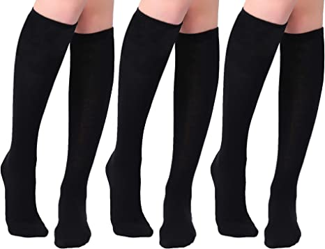 3 Pairs Women/'s Ladies Black Knee High Diamond Pattern Pop Socks One size P1A