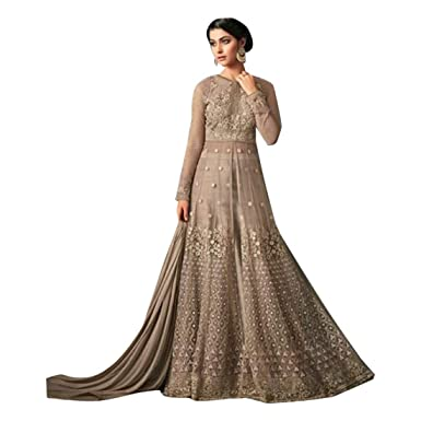 44951ba1f2 Amazon.com: Pure Silk Anarkali suit Front Split dress Net with Embroidery  Indian Muslim Ethnic Festive Apparel 7206 2: Clothing