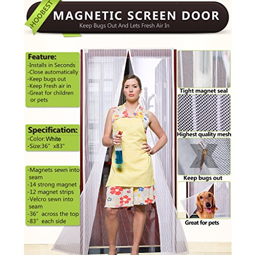 Elegant White Magnetic Screen Door, Heavy Duty Mesh Screen U0026 Full Frame Velcro Keep  Bugs Out, Let Fresh Air In.Screen Door Mesh Is Bulit Tough, Close  Automaticlly.