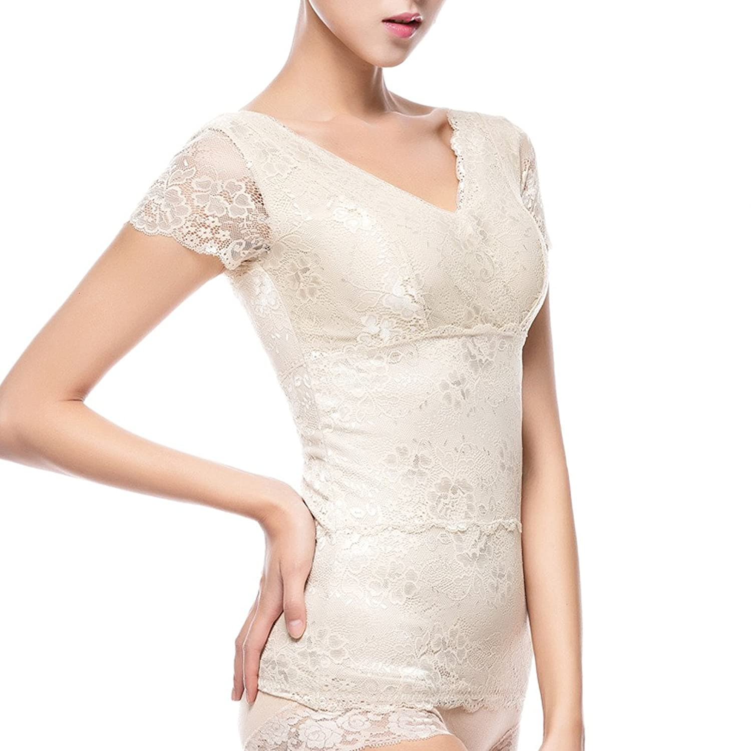 Comfortableinside Women's V-neck Thicken Fleeced Lining Lace Short Sleeve Thermal Underwear Tops