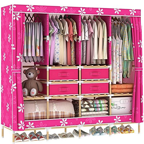 Find Cheap HHAiNi Huge Wooden Portable Closet 4 Rods Bedroom Wardrobe Storage Rack Kit, Long Hanging...