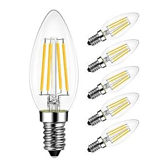 lvwit B11 bombilla LED – LED filament bombillas 40 W equivalente, 2700 K luz blanca