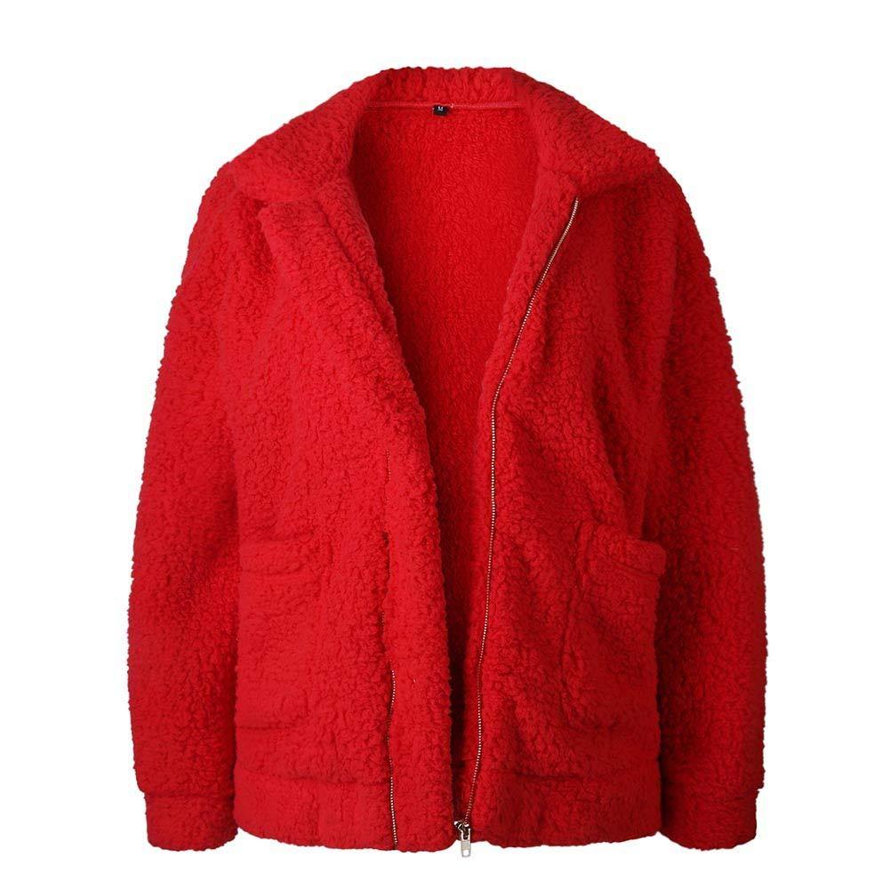 KOERIM Women's Fluffy Shaggy Long Sleeve Faux Fur Coat Jacket with Pockets Warm Winter