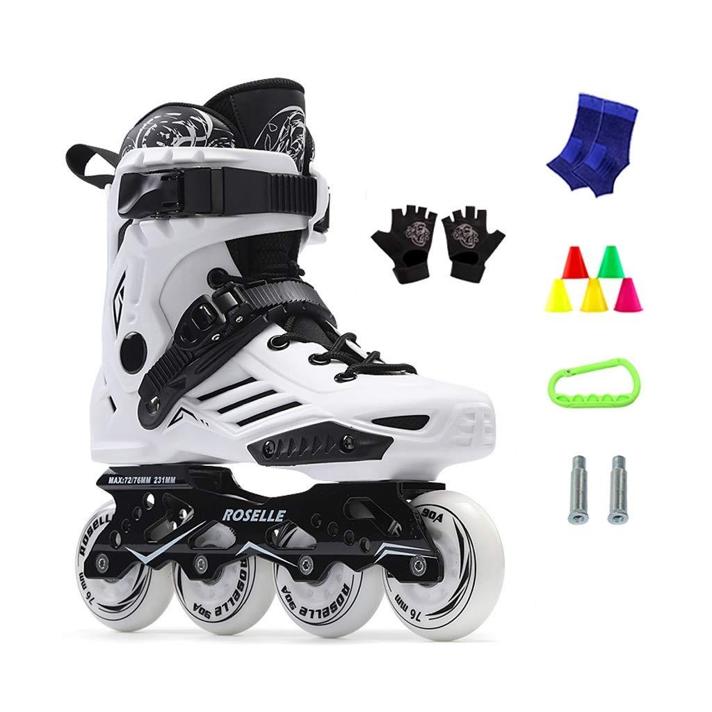 JIANXIN Inline Skates, Men Light Up The Wheel Roller Skates Suitable for Women, Beginner, Youth Skating, White Black (Color : B, Size : EU 36)