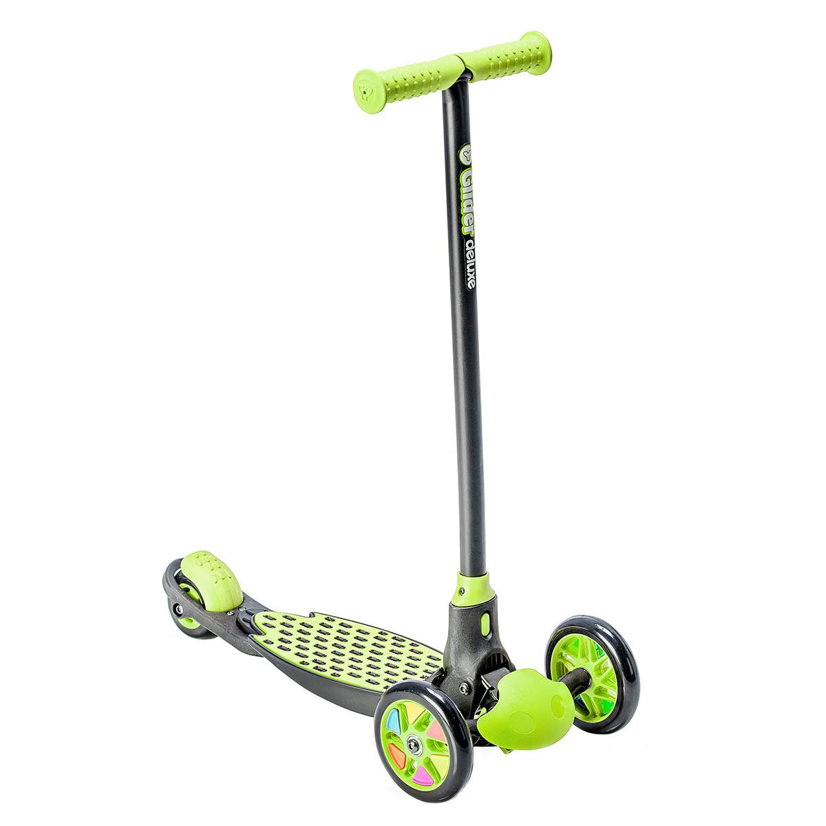 Yvolution Y Glider Deluxe | Three Wheel Kick Scooter for Kids with Safety Brake for Children Ages 3+ Years (Green) by Yvolution
