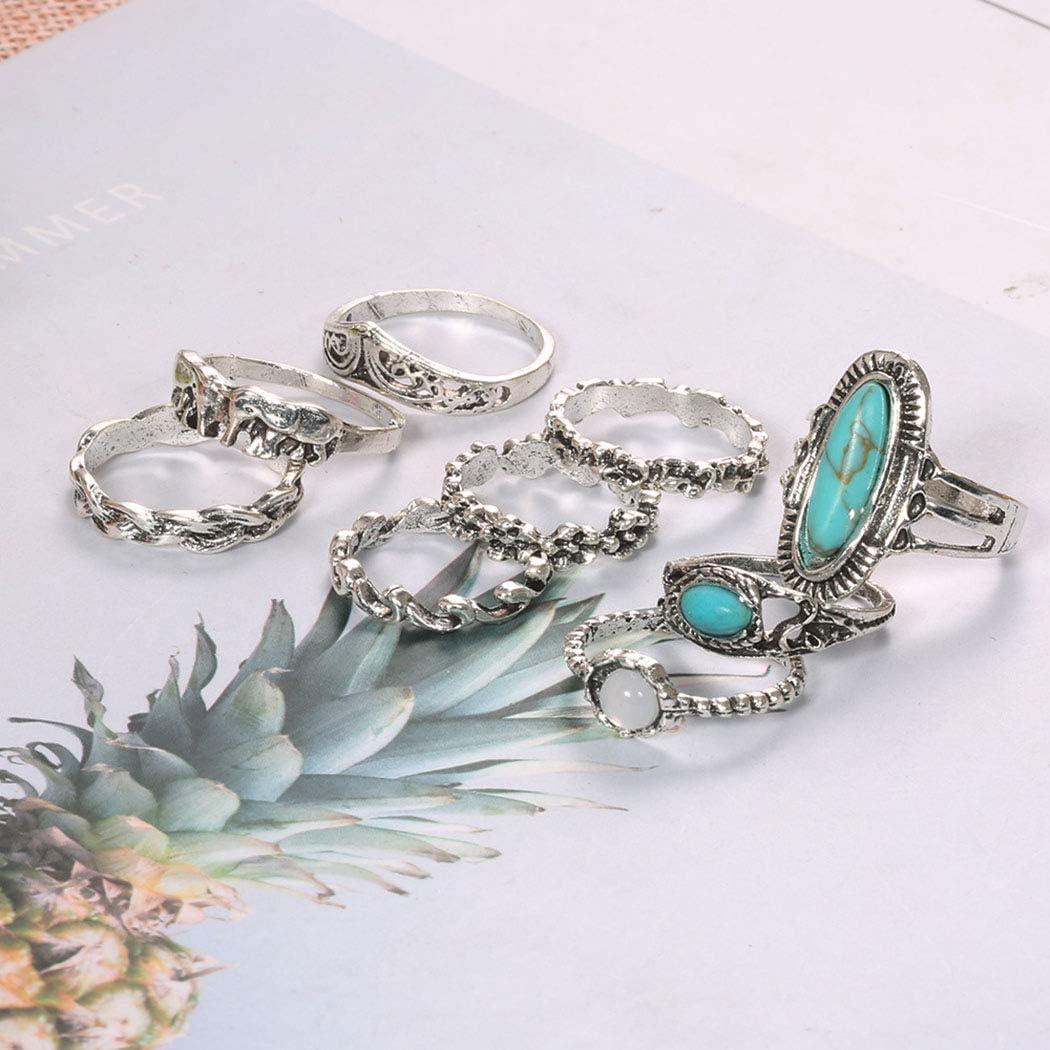 Set of 6 Silver Turquoise Rings Boho Fashion Jewellery Bohemian Festival A086