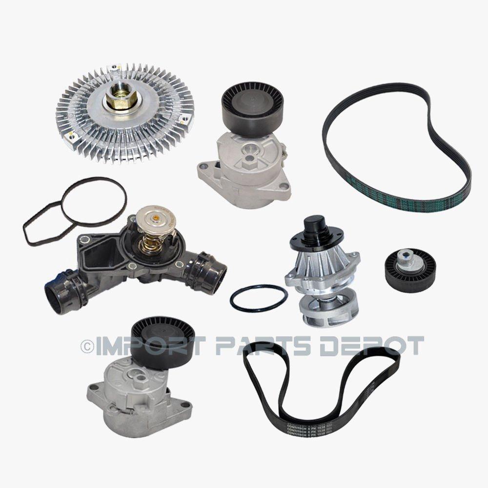 Bomba de agua ventilador embrague termostato cinturón tensor cinturones Kit (8pcs) para BMW 323 Ci 323i 325 Ci 325 x i 328 Ci X5 11281427252 11281706545 ...