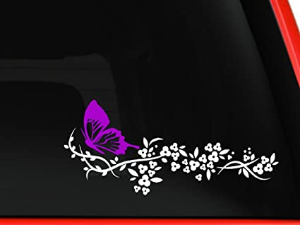 White flower and pink butterfly beautiful nature decal stickers car window truck laptop macbook vinyl