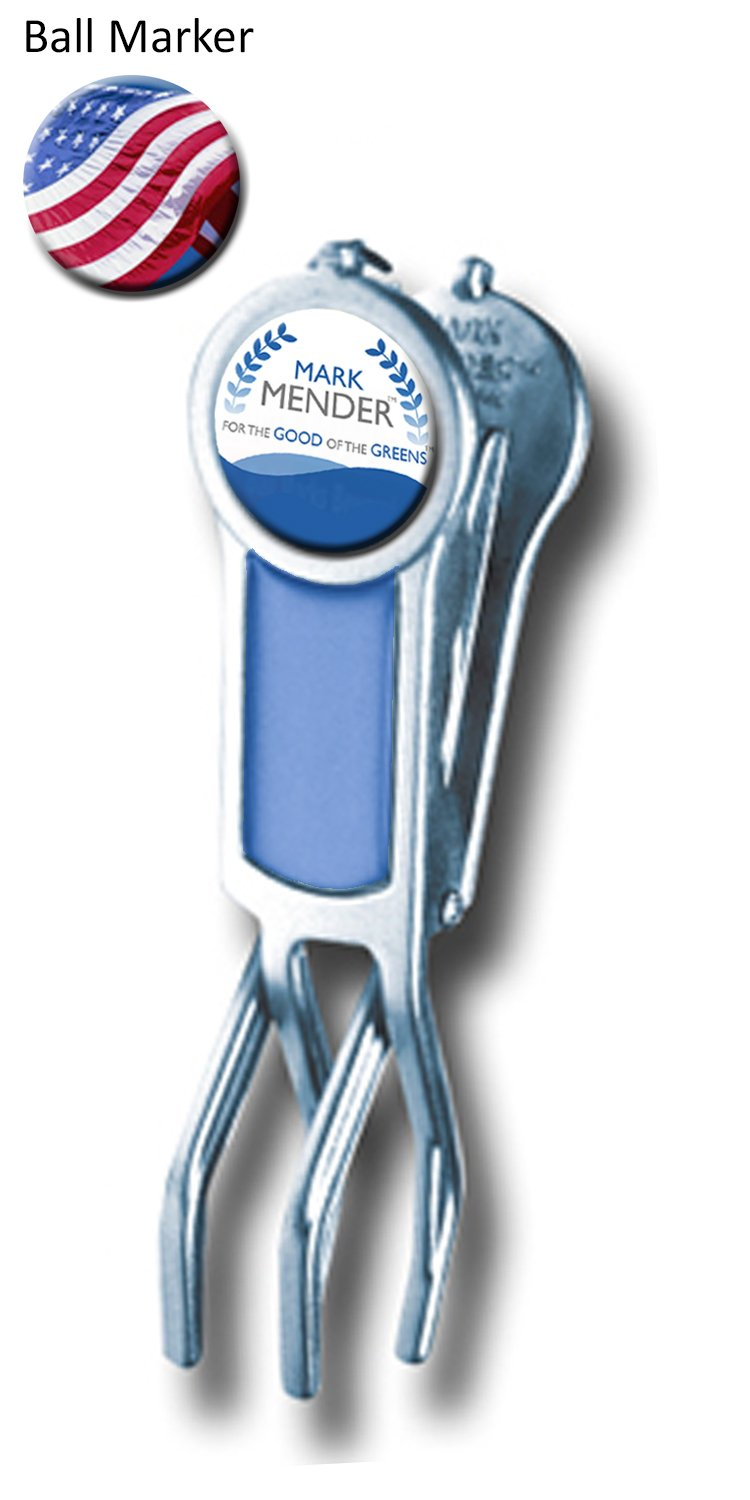Mark Mender Golf Divot Repair Tool, Cigar Holder & Grip Rest, Repairs Ball Marks The Right Way, Magnetic Ball Marker, Holds Cigars, and Keeps Putters & Wedges off Wet Grass (Blue)