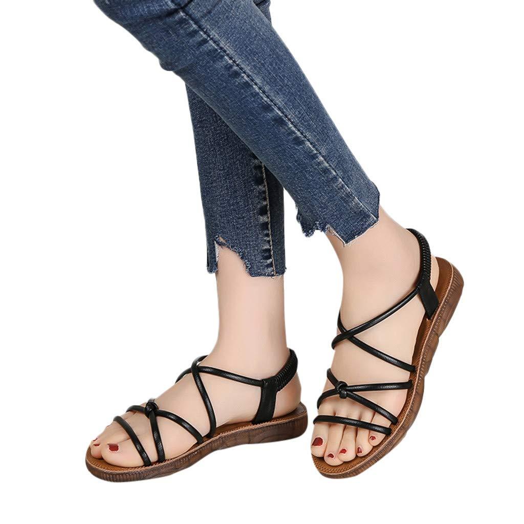 Summer Hot Women's Soft Bandage Bottom Flat Sandals Beach Sandals Fashion Casual Wild Sandals (Black, 6)
