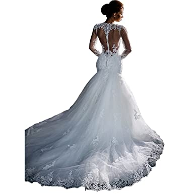 9062df21b0a Chady Lace Mermaid Wedding Dress Long Sleeves 2018 Illusion Back Ruffles  Train Bridal Gowns at Amazon Women s Clothing store