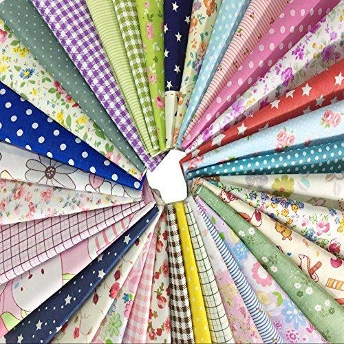 50 Pcs Telas Cuadrados de Algodón Tela Fabric para Tejido Pactchwork Costura Pelusas DIY Artcraft Trabajo