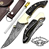 Buffalo Horn 7.5'' Custom Handmade Damascus Steel Brass Bloster Lock Folding Pocket Knife 100% Prime Quality with Sharpening Rod