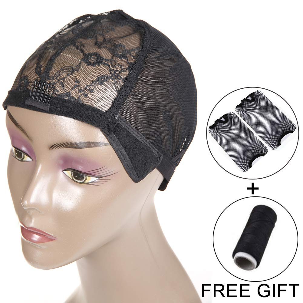 7eccaf5cbd0 Amazon.com  Wig Cap with Combs and Straps for Making Wigs Stretch Lace  Frontal Wigs Weaving Cap Adjustable Straps 2PCS DIY Wig  Beauty