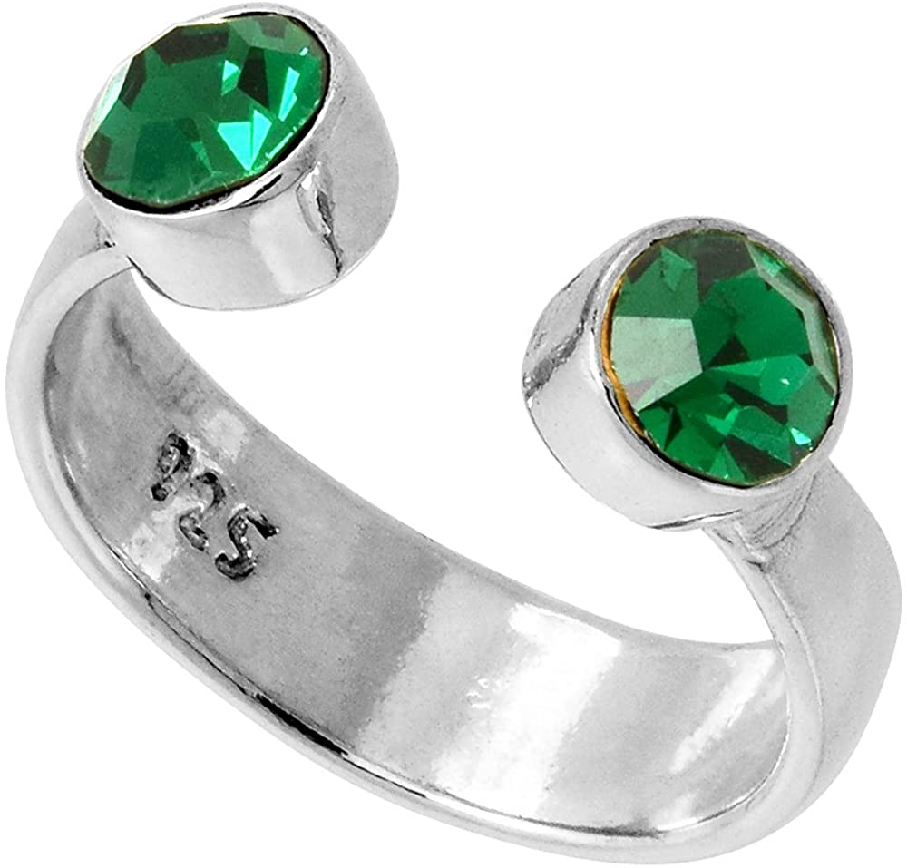Emerald Ring Adjustable Gemstone Ring Thumb Ring Silver Ring Gift For Her Mothers Day Gift From Daughter Rings For Women