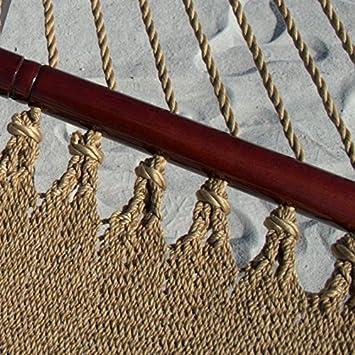 Caribbean Hammocks Soft-Spun Polyester Double Hammock, 48 W, Tan