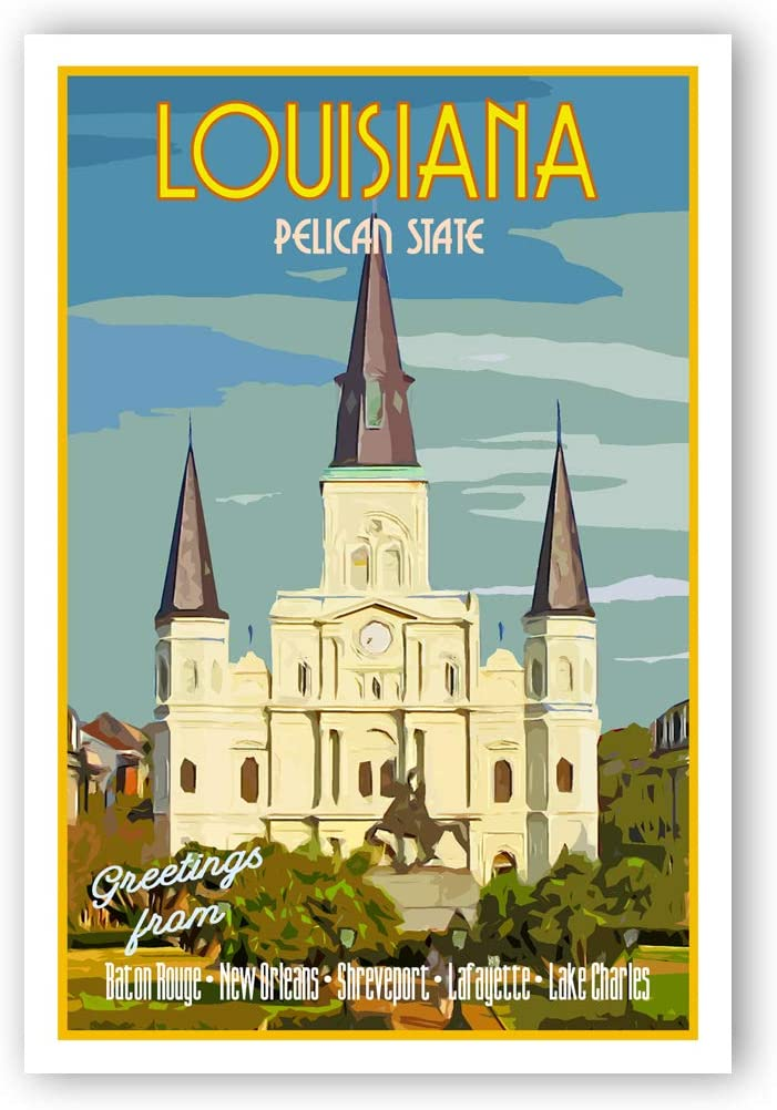 LOUISIANA TRAVEL POSTER postcard set of 20 identical postcards Made in USA. LA state vintage style travel poster post cards