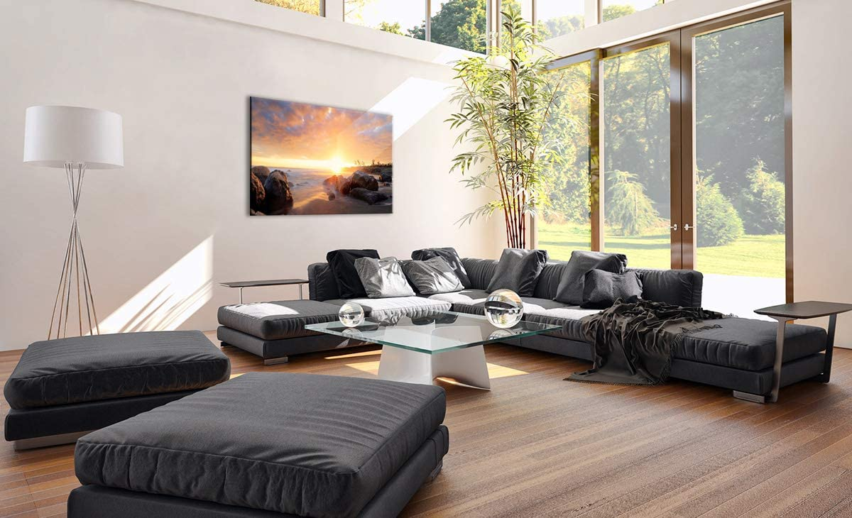 Un /él/ément Pret a accrocher Tableaux pour la Mur 70x50cm D/écoration prete a Suspendre 3649 encadr/ée Impression sur Toile Motif Moderne Image sur Toile AA70x50-3649