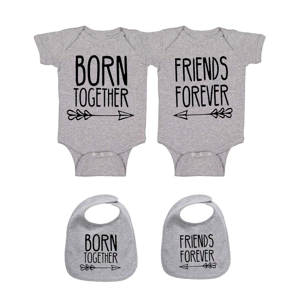 YSCULBUTOL Baby Twins Clothes Best Friends Forever Baby Bodysuit Set Friends Inspired Matching Twins Outfits