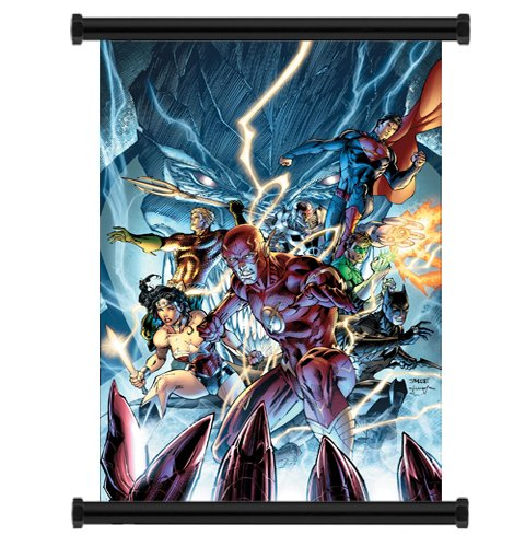 Justice League Comic Fabric Wall Scroll Poster (32 x 48) Inches (Justice League Fabric Poster)