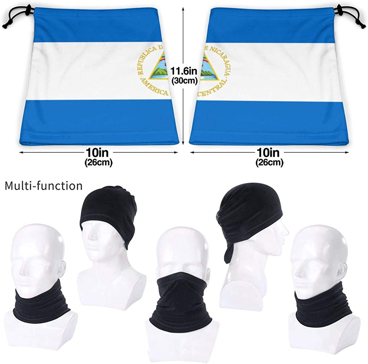 Seamless Face Mask Bandanas Neck Warmer Scarf Gaiter Nicaragua Flag For Dust Outdoors Festivals Sports Windproof Men And Women