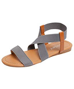 Hyuniture Women's Ankle Strap Flat Sandals Fish Mouth Sandals Elastic Band Roman Sandals Gray