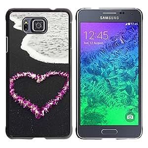 Paccase / SLIM PC / Aliminium Casa Carcasa Funda Case Cover - Love Flower Heart Beach - Samsung GALAXY ALPHA G850