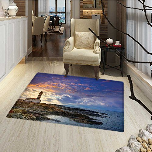 Lighthouse Decor Door Mats Area Rug Cap de Favaritx Sunset Lighthouse Cape in Mahon at Balearic Islands of Spain Coast Door Mat indoors Bathroom Mats Non Slip 20''x32'' by Anmaseven
