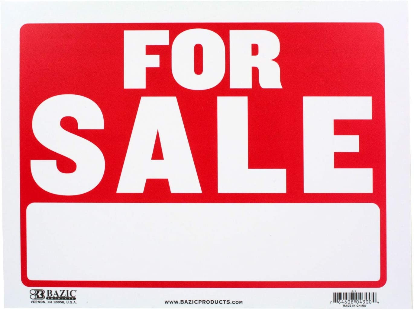 "BAZIC 9"" X 12"" for Sale Sign, Yard Sale Garage Sale Retail Store Policy Business Plastic Signs, Wall Door Border, Waterproof Indoor Outdoor Advertising Signage"