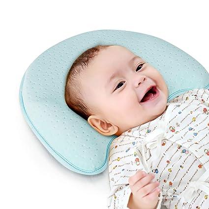 Almohada Bebé Cojin Cuna Eecién Nacido Almohada, para Evita Plagiocefalia de Cabeza Plana, Almohada Ortopédica y Cuna Lactancia para Bebé Recien ...