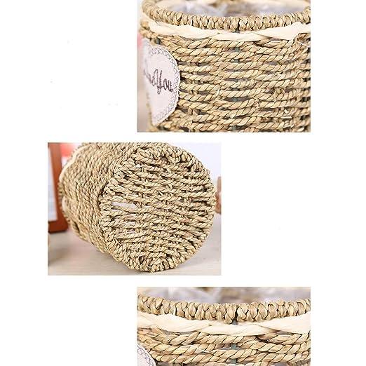 Estilo rural Hecho a mano Cesta tejida Colgante Mimbre Cesta de almacenamiento Maceta Florero Contenedor for el jard/ín de Decoraci/ón de la pared de la boda Peque/ñas cestas redondas Flor de paja Cesta
