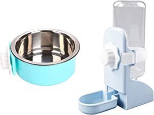 Crate Bunny Food Bowl Removable Stainless Steel Hanging Drinking Fountain Plasticbottle Water Dispenser Drinker Food Feeder Pet Cage Bowl Feeder Cup for Rabbits Cat Puppy Birds Rats Guinea Pigs
