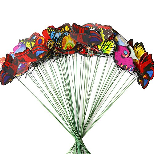 Teenitor Butterfly Stakes, 60pcs 7cm Garden Butterfly Stakes Decor Outdoor Yard Patio Planter Flower Pot Spring Garden -
