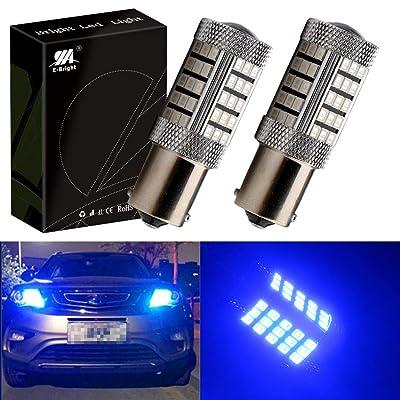 EverBrightt 2-Pack 990 Lumens Blue 1156 BA15S 2835 66SMD LED Turn Signal Light Car RV Camper Reverse Brake Parking Lights with Lens: Automotive