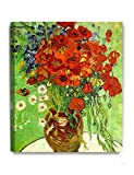 DecorArts - Red Poppies And Daisies by Vincent Van Gogh Oil Painting Reproduction Giclee Print on 100% Cotton Canvas Wall Art for Home Decor and Wall Decor 20x24''