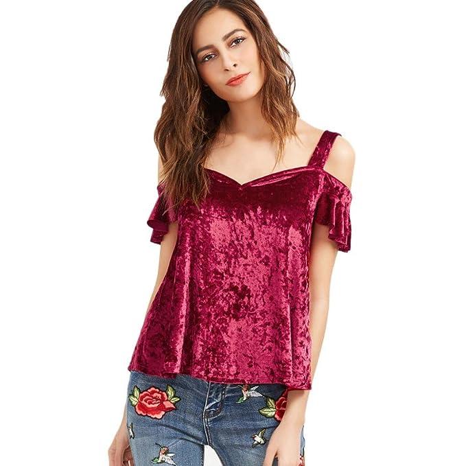 Rcool Moda Mujer sin Tirantes de la Blusa Ocasional Rosa Gota Camiseta de Manga Corta de