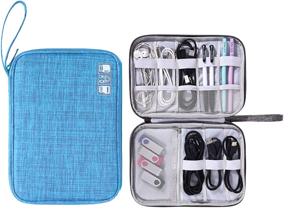 Muyasea Electronics Organizer Portable Electronic Accessories Cases for Cables Laptop ChargerBigger Power Bank USB Phone Flash Drive iPad Mini C-Blue