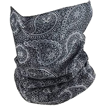 Outdoor Face Mask - Perfect for Motorcycle Riding, Skiing, Snowboarding, Fishing - Works as Dust Mask, Neck Gaiter, Balaclava, Bandana, Fashion - Breathable Seamless Microfiber (Paisley)