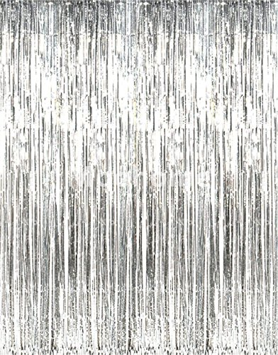 Moohome Big 3ft x 8ft Tinsel Metallic Silver Foil Fringe Curtains Backdrop Door Window Curtain Party Decoration (2-Pack, Silver) (Silver Backdrop)