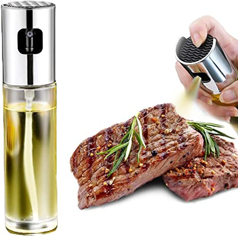 Oil Sprayer Stainless Steel Olive Oil Mister Dispenser for Cooking Refillable Oil Vinegar Spritzer for Grilling Roasting Salad Air Fryer BBQ with Bottle Brush and Funnel
