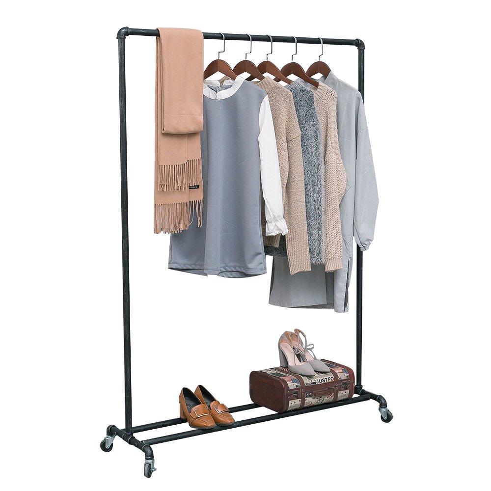 MBQQ Industrial Pipe Clothing Racks on Wheels,Heavy Duty Garment Racks Commercial Grade,Vintage Rolling Ballet Rack Clothes Display Rack Retail Display Menbonqiqi