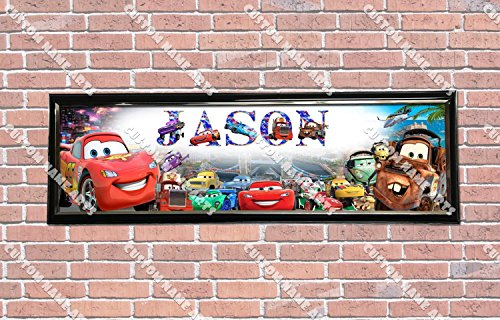 Personalized Customized Disney Car Movie Poster With Frame, With Your Name On It, Party Door Poster, Room Art Decoration, Wall Decor (Cars Movie Poster Disney)