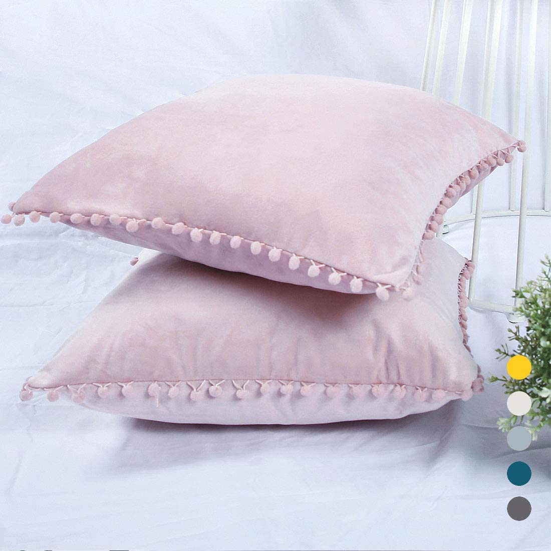 YINFUNG Pom Pom Pillow Covers Pink Velvet Pom Throw Pillow Cover 12x12  Pompom Trim Fringe Pillow Cases Pastel Pale Pink Blush Ball Couch Sofa  Accent ...