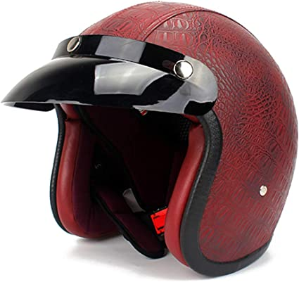 Amazon.es: Casco de cara abierta Motocicleta Moto retro Casco vintage Capacete Moto Vespa Casco Aprobado por DOT