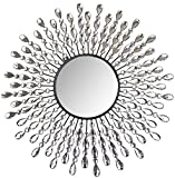 LuLu Decor, 23.50'' Crystal Drop Wall Mirror, 9'' Round Beveled Mirror Handmade for Living Room & Bedroom